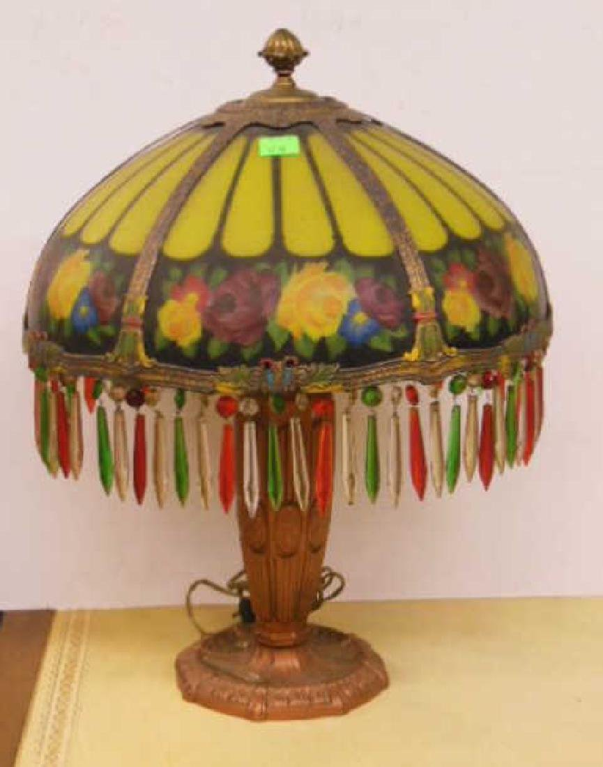 Reverse Painted Glass Lamp