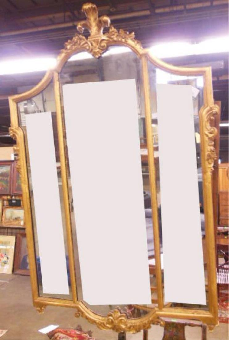 Gilt & Carved 3 Part Wall Mirror