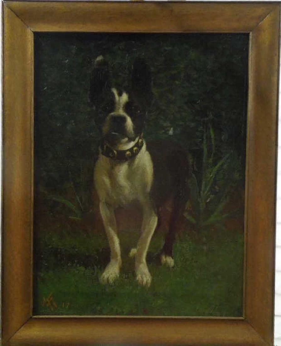 VM, Signed, o/c, Portrait of a Terrier