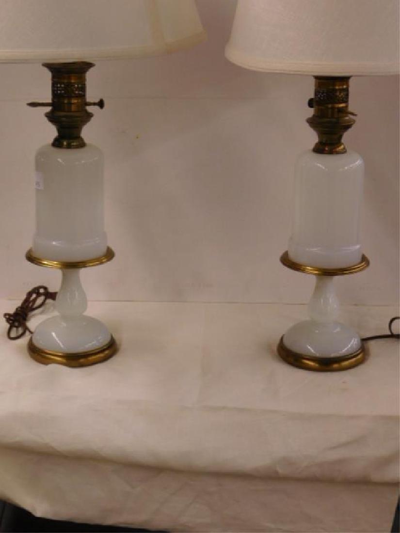 Pr Opaline Glass Table Lamps