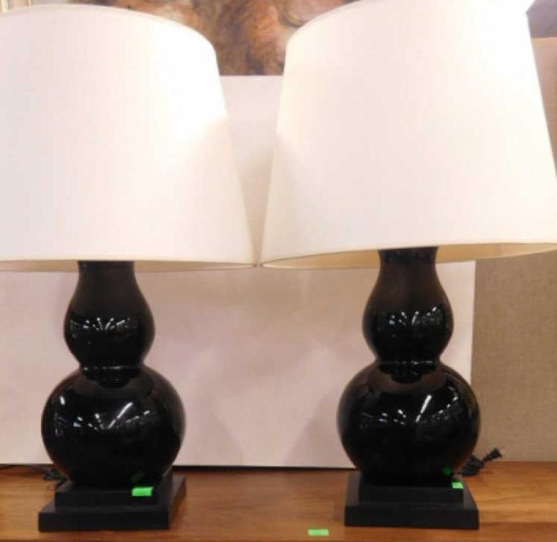 Pair Contemporary Porcelain Lamps