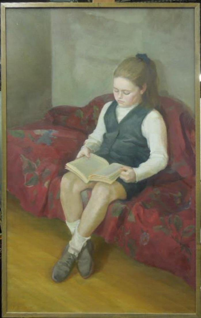 T. Miller, o/c, Young Girl Reading