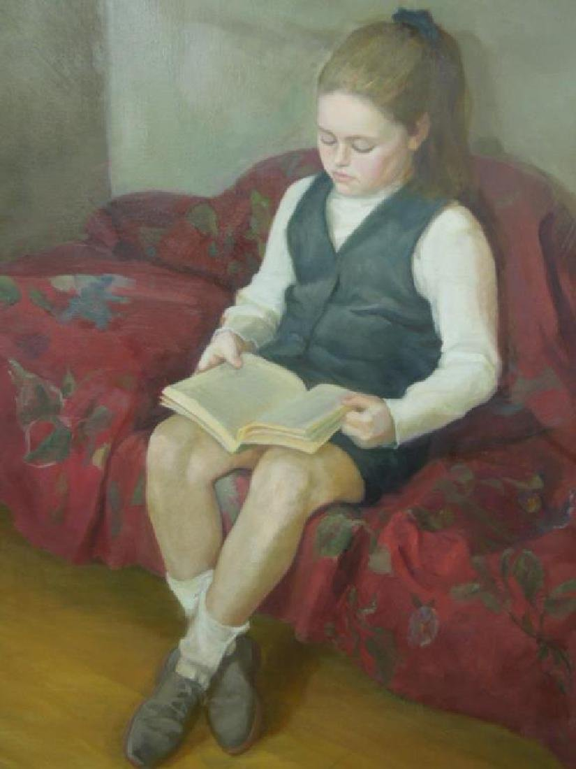 T. Miller, o/c, Young Girl Reading - 2