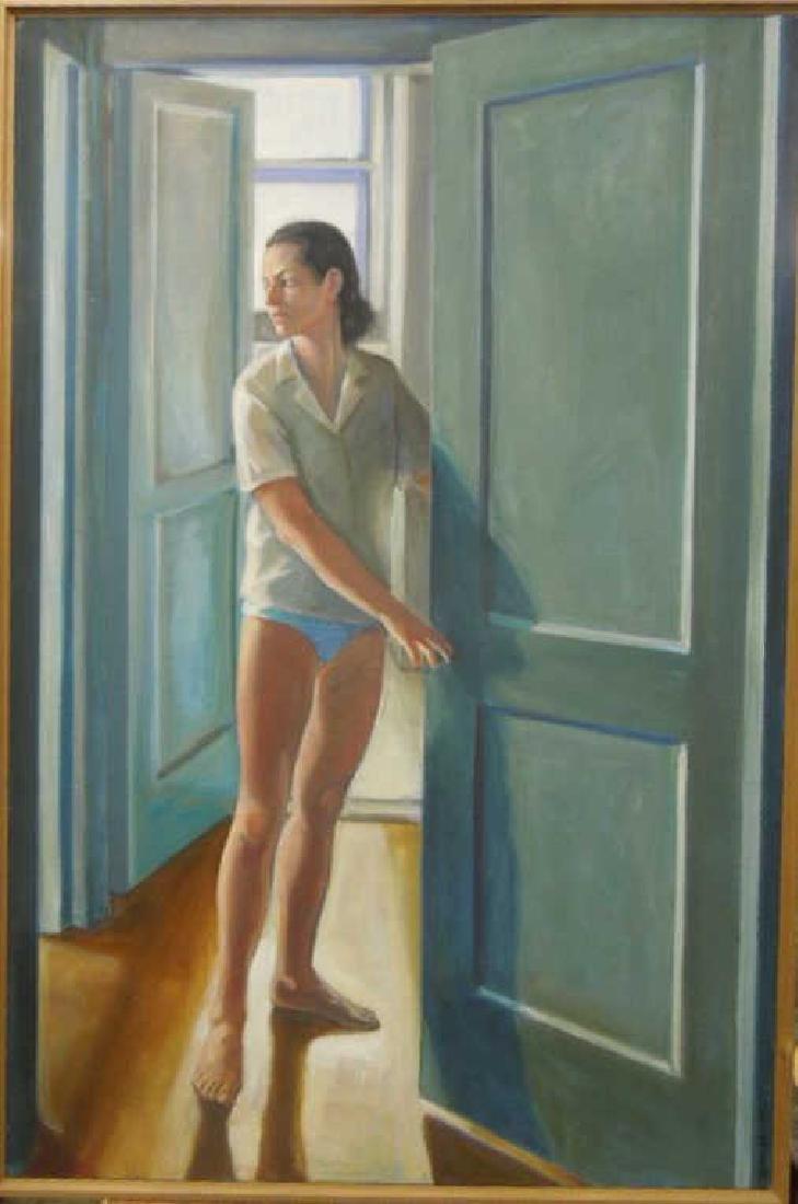 N.B. Miller, o/c, Woman at Open Door