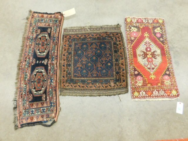 (3) Antique Oriental Throw Rugs