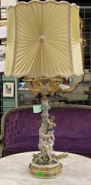 1006: Dresden Style Porcelain Figure Lamp