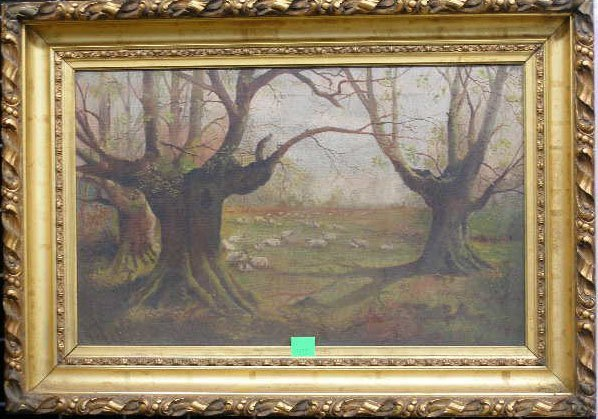 1011: American School, Mid 19th c, Primitive Landscape