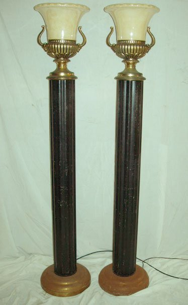 1020: Pair of Art Deco Neo Classical Torchere Lamps