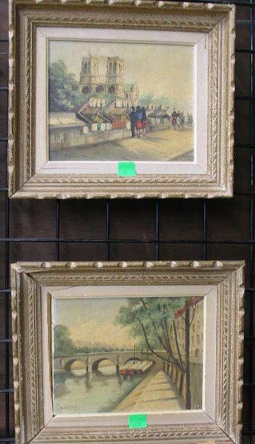 """1021: M. Catelein, signed, oil on canvas: """"Paris-Les Bo"""