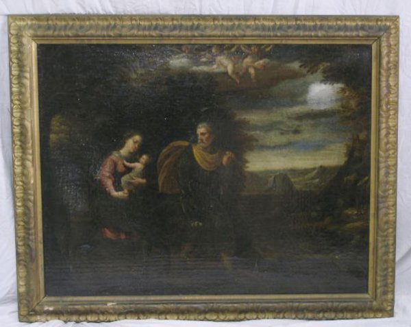 1090: Continental School, 18th C., The Holy Family in a