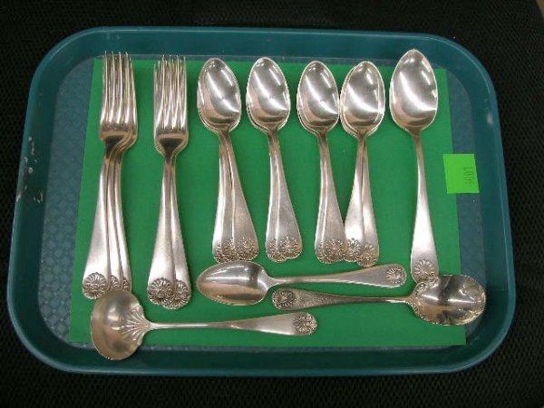 3001: Sterling silver shell pattern flatware