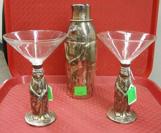 3008: Towle silver plate penguin cocktail set