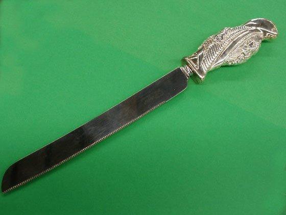 3019: Sterling silver handle bread knife
