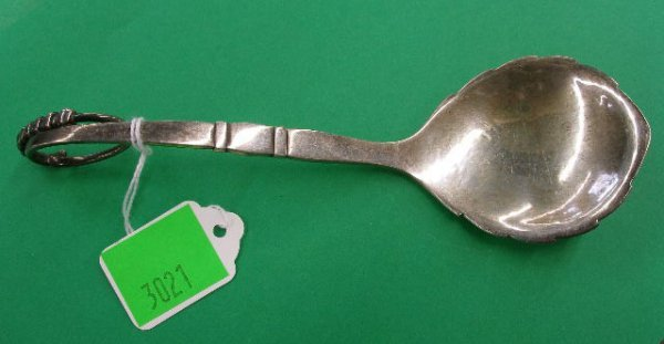 3021: Georg Jensen sterling silver serving spoon