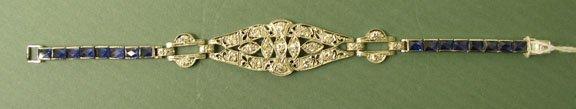 3187: Platinum Diamond and Sapphire bracelet