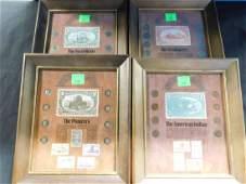 4 Framed American Coin Set