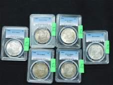 6 Unc Morgan Silver Dollars