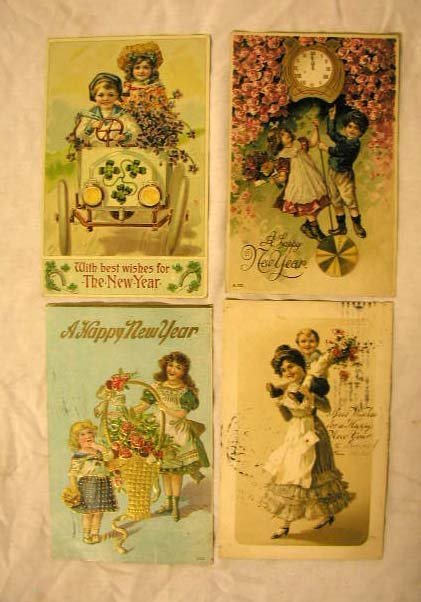 4010: Early 20th C. New Years Postcards
