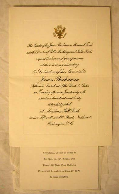 4018: 1930 James Buchanan Memorial Invitation
