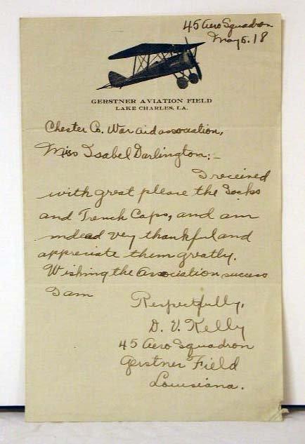 4020: 1918 Army 45th Aero Squadron Letter