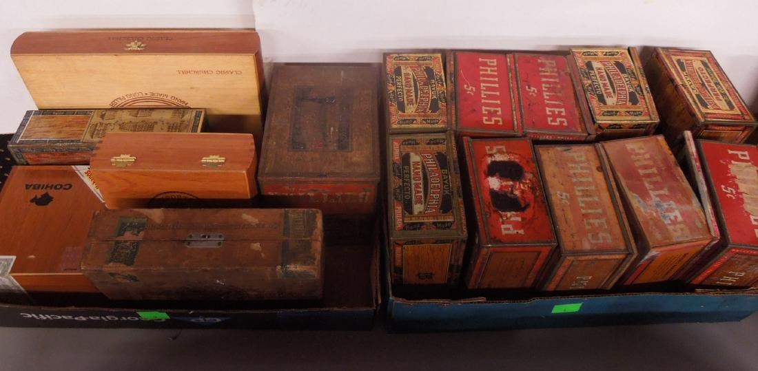 Lot Wood & Tin Cigar Boxes