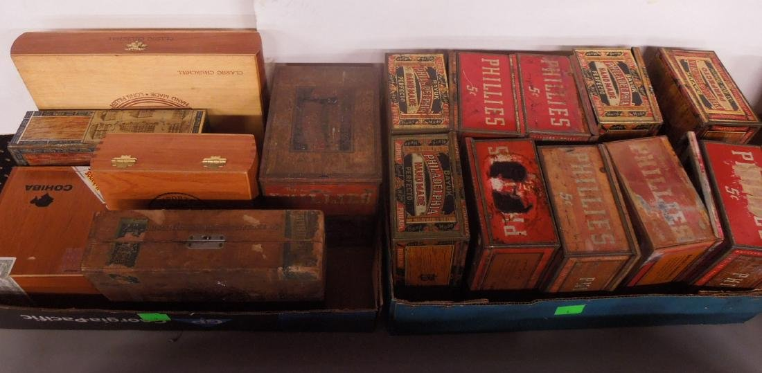 Lot Wood & Tin Cigar Boxes