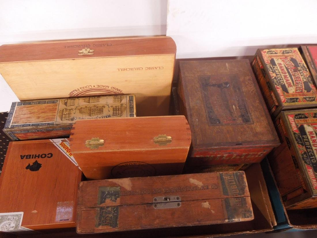 Lot Wood & Tin Cigar Boxes - 2
