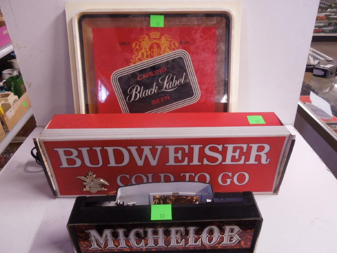 2 Lighted Beer Signs & Other