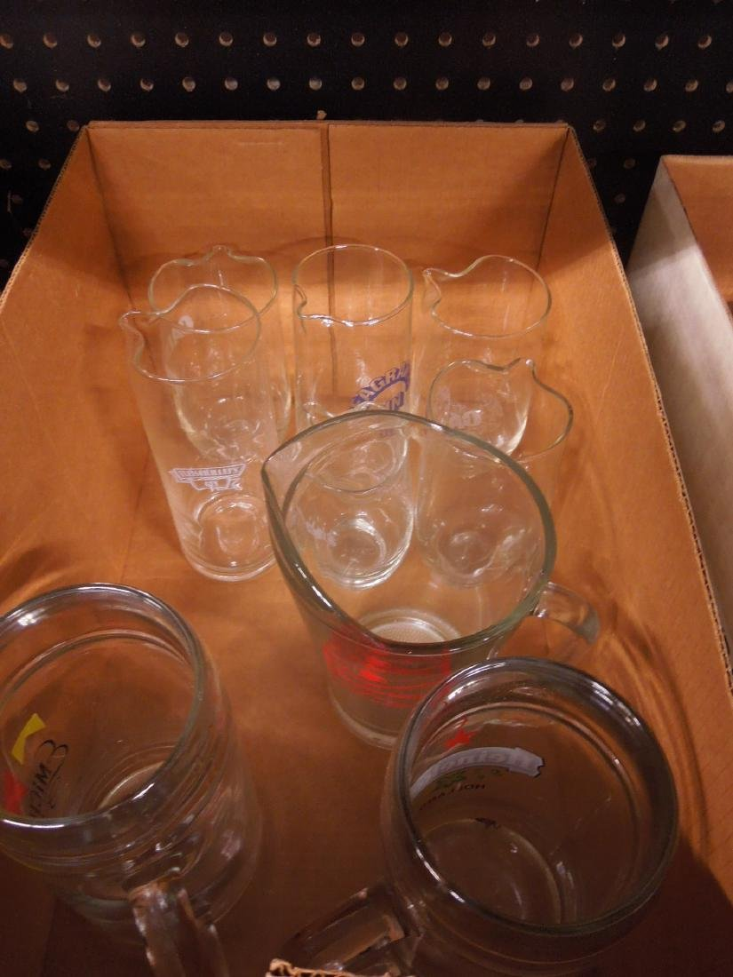 Lot of Glass Alcohol Advertising Pitchers & Mugs