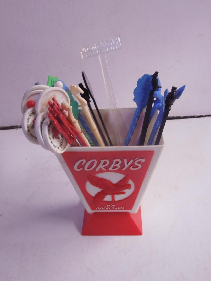 Vintage Plastic Corby's Swizzle Stick Holder