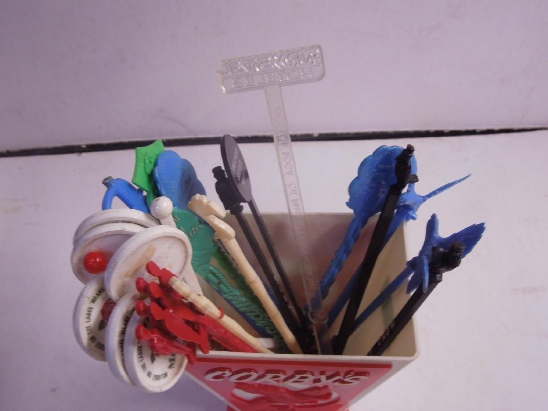 Vintage Plastic Corby's Swizzle Stick Holder - 3