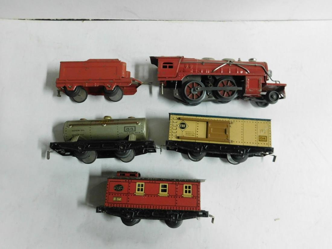 Vintage Winner Tin Engine and Train Cars