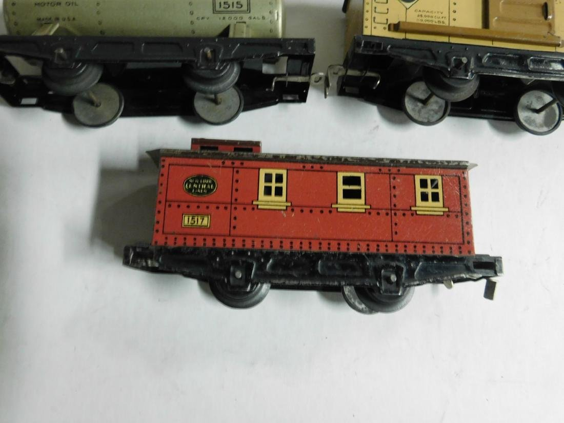 Vintage Winner Tin Engine and Train Cars - 4