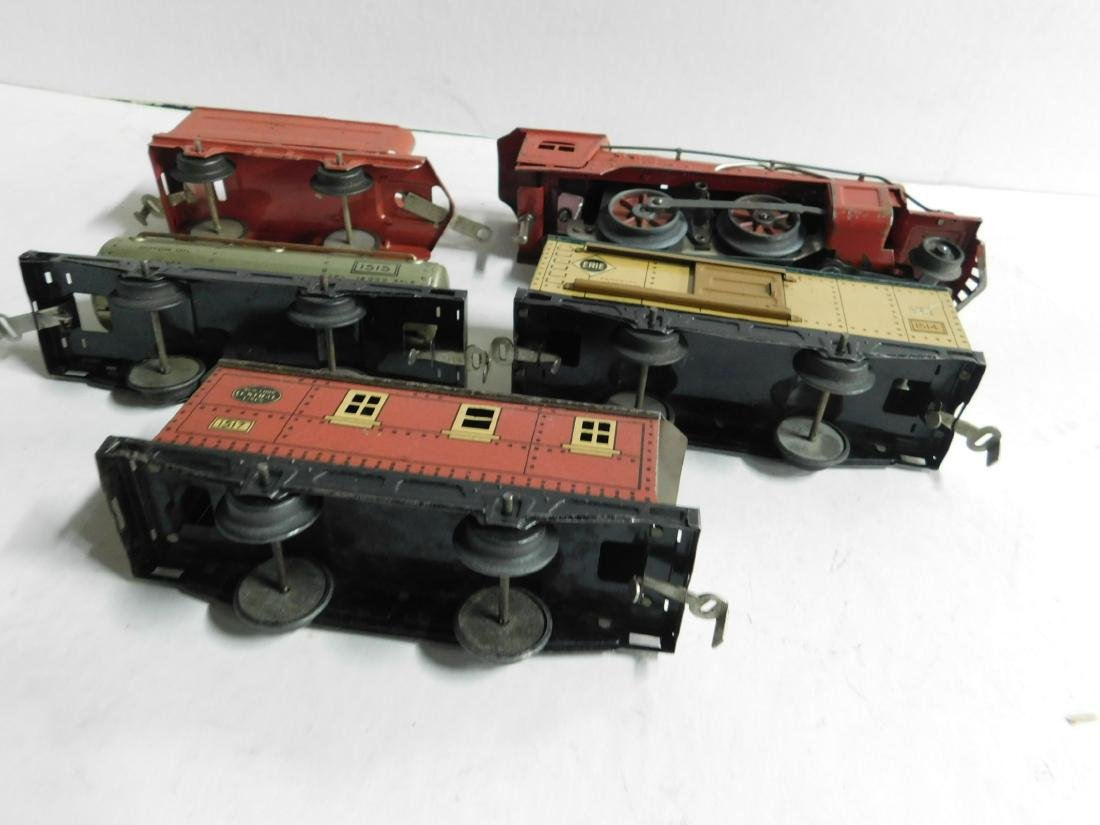 Vintage Winner Tin Engine and Train Cars - 5