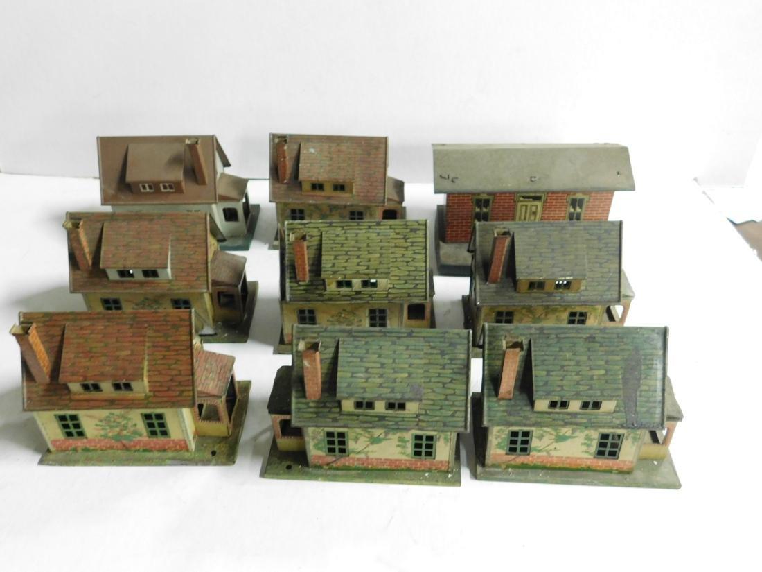 8 Vintage Lionel Tin Litho Buildings