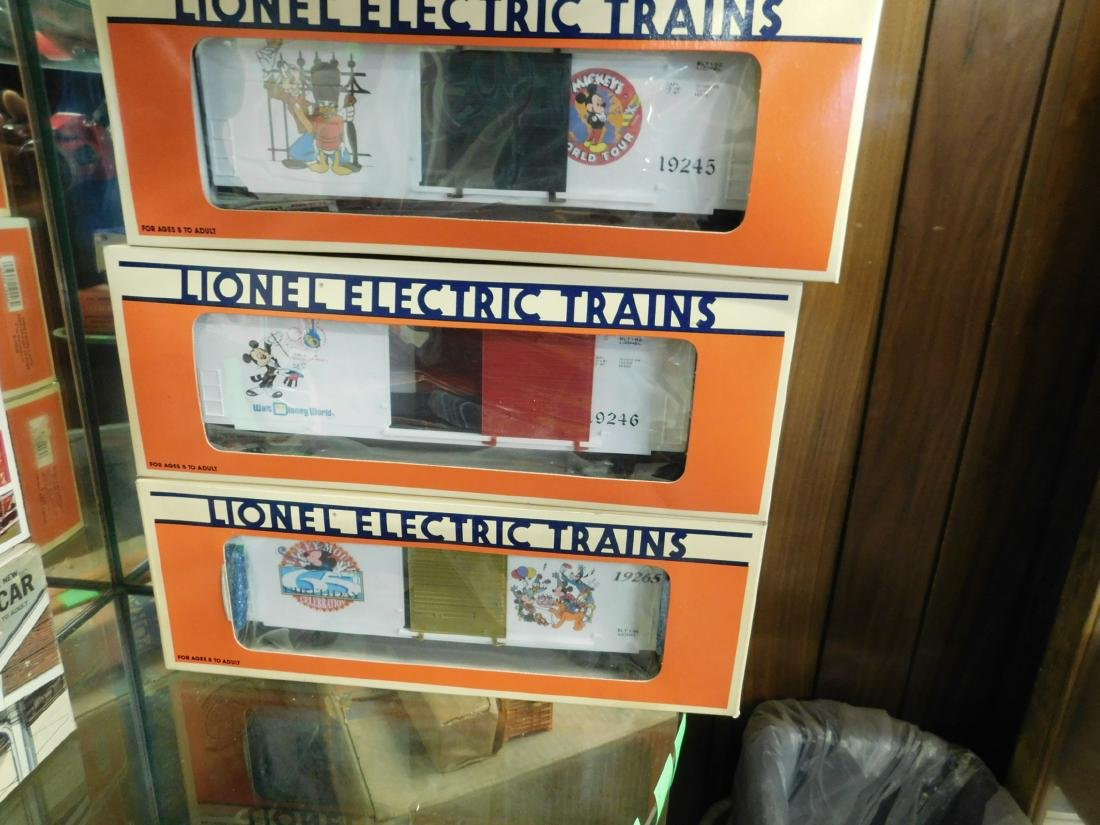 3 Lionel Disney Box Cars in Boxes