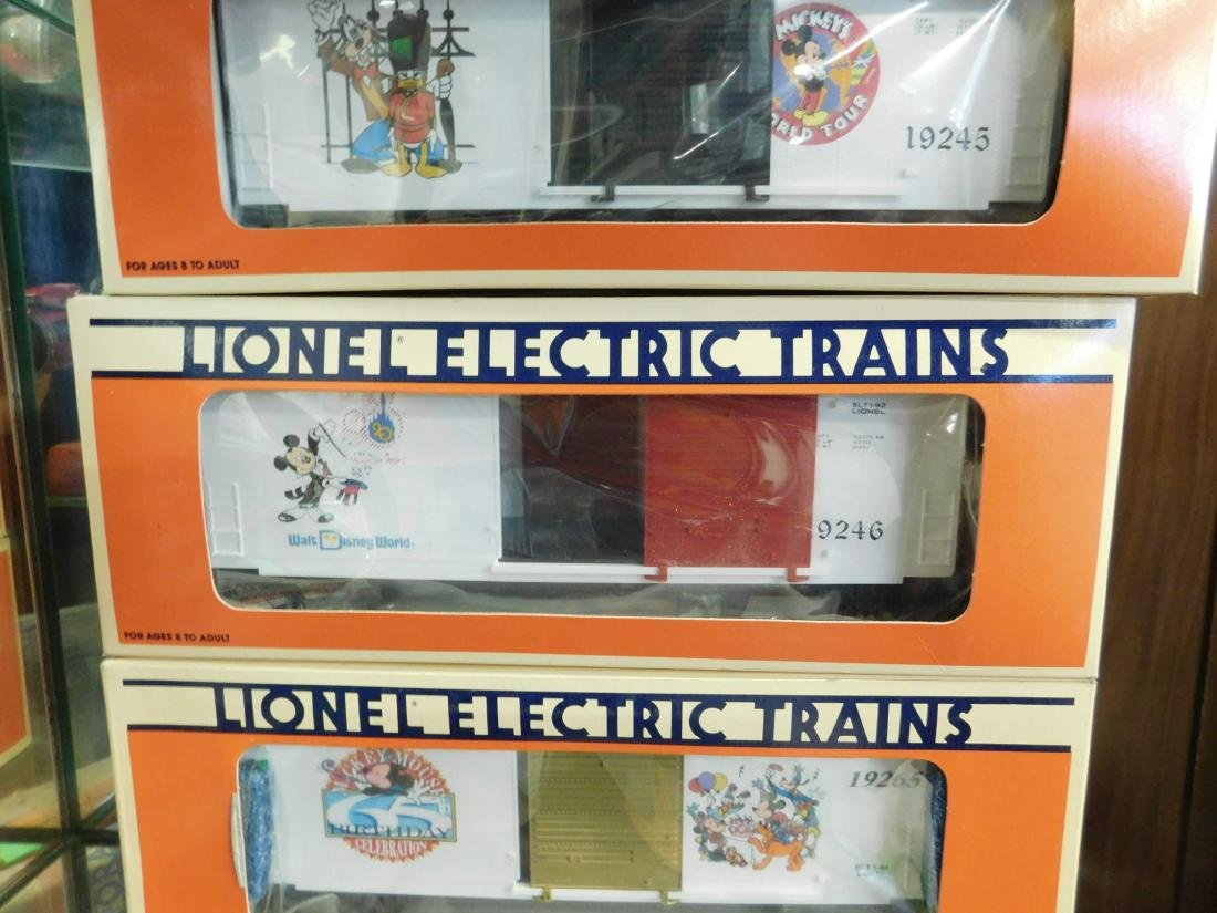 3 Lionel Disney Box Cars in Boxes - 3