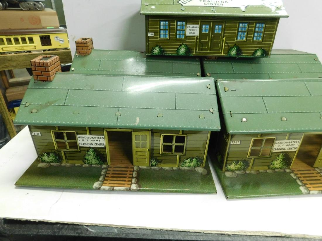 5 Marx Tin Litho Army Buildings - 2