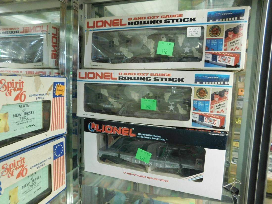 3 Lionel Military Train Cars w/Boxes