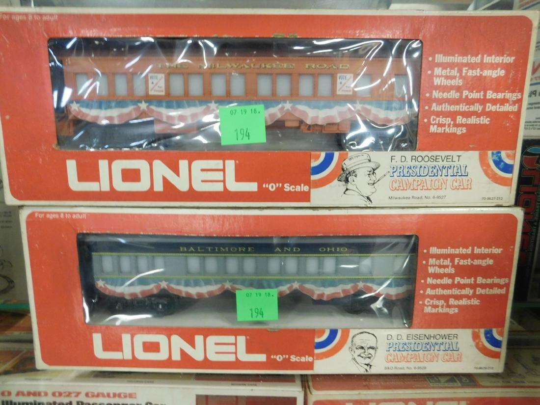 2 Lionel Presidential Campaign Train Cars