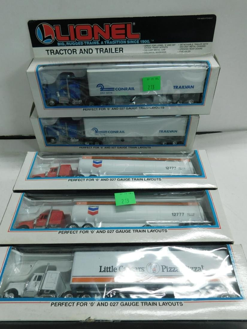 5 Lionel Tractor Trailers in Boxes
