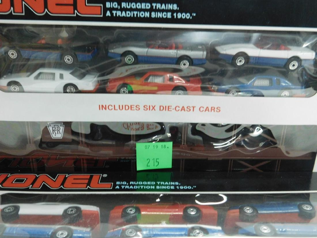 2 Lionel Penn Auto Carriers with Cars, - 3