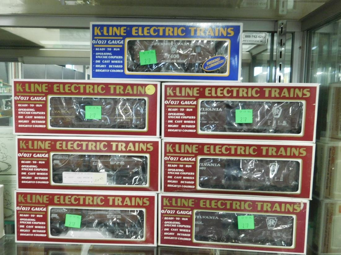 7 K-Line Train Cars in Original Boxes