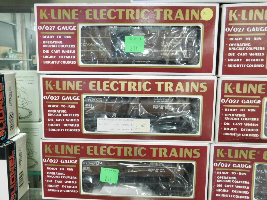 7 K-Line Train Cars in Original Boxes - 2