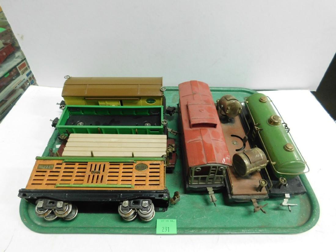 "7 Lionel Lines ""O"" Gauge Railroad Cars"