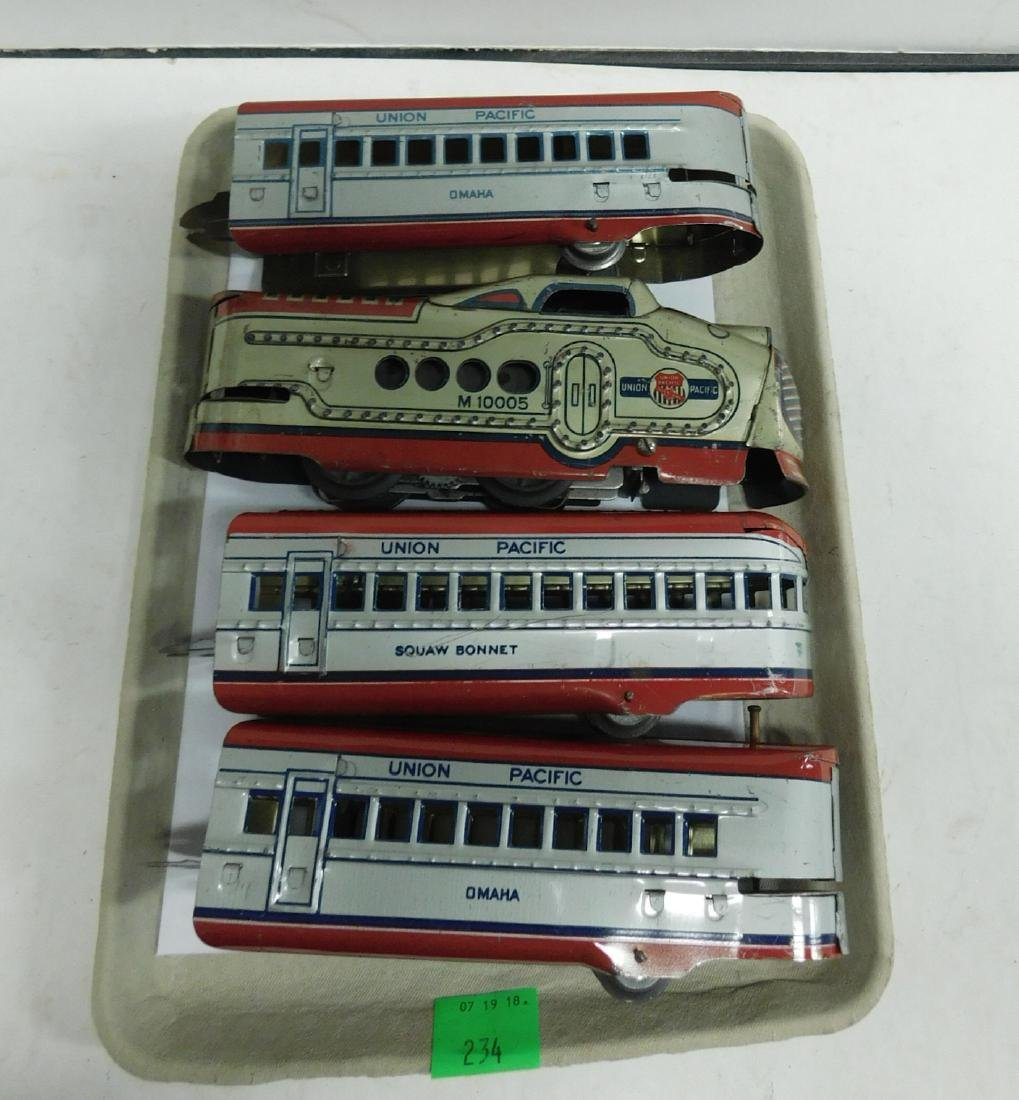 Marx Prewar 4 Piece Tin Train Set