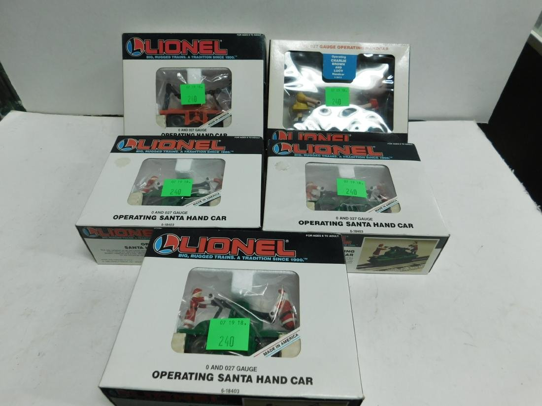 5 Lionel Operating Handcars Like New in Boxes