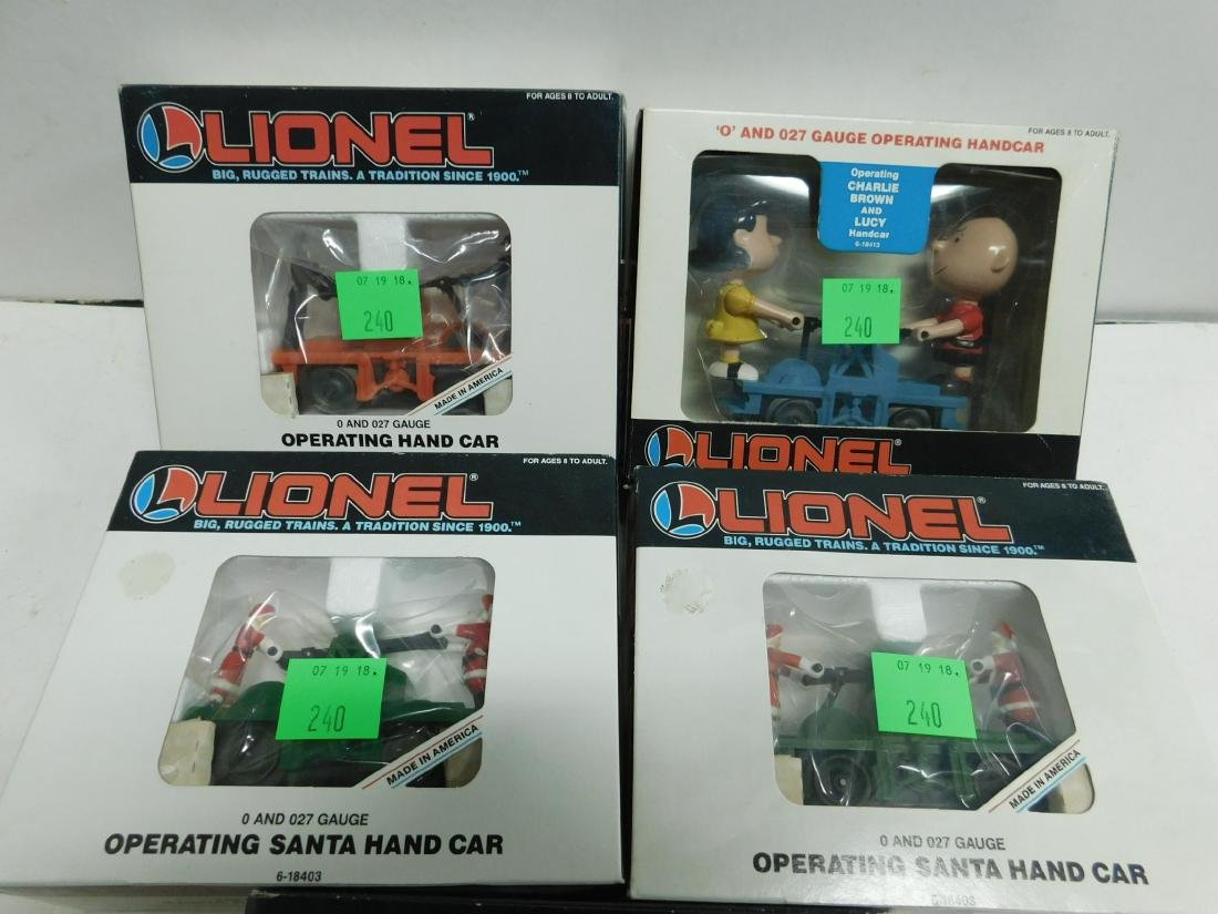 5 Lionel Operating Handcars Like New in Boxes - 3