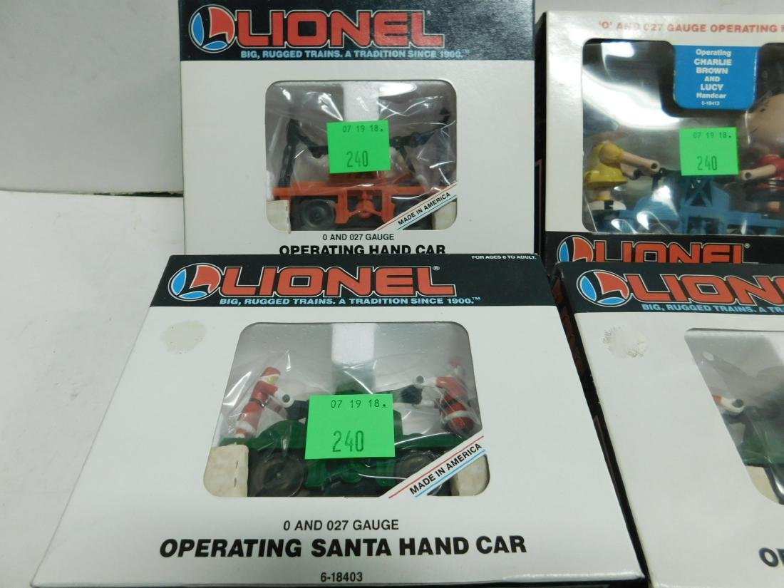 5 Lionel Operating Handcars Like New in Boxes - 5