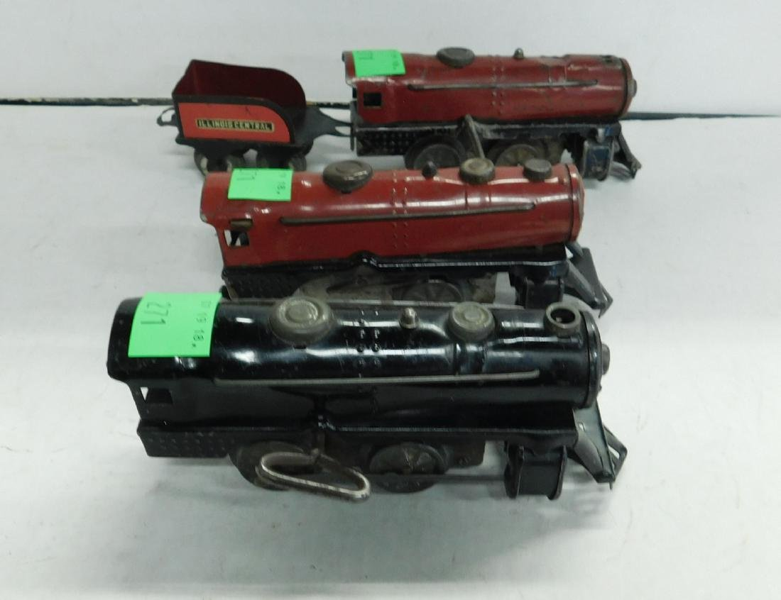 3 Marx Wind up Tin Train Engines